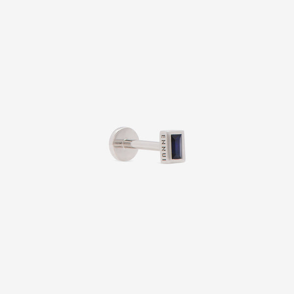 rectangular labret with blue sapphire set in white gold