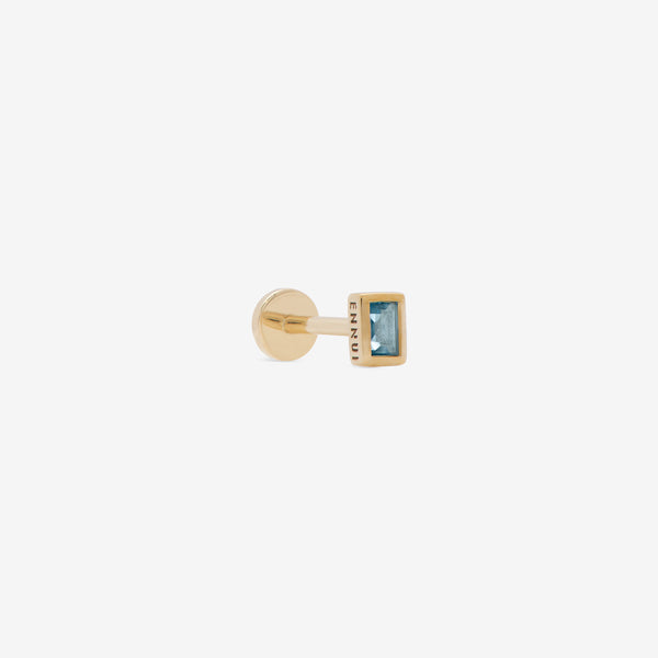 rectangular labret with topaz stone  set in yellow gold from side