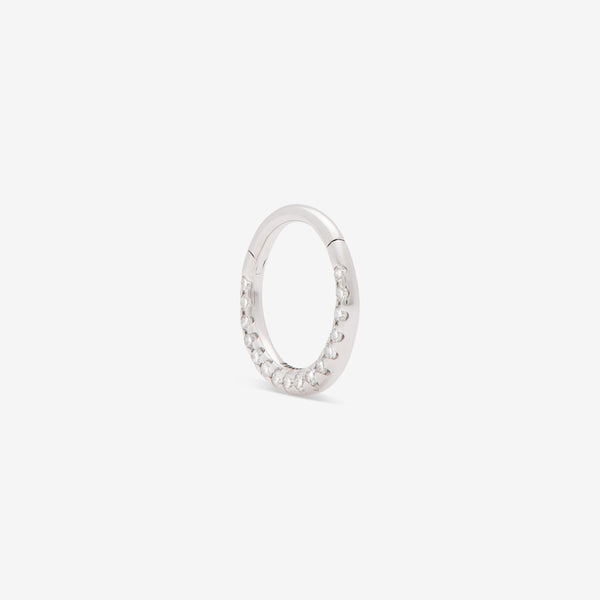 septum huggie with white diamonds set in white gold from side