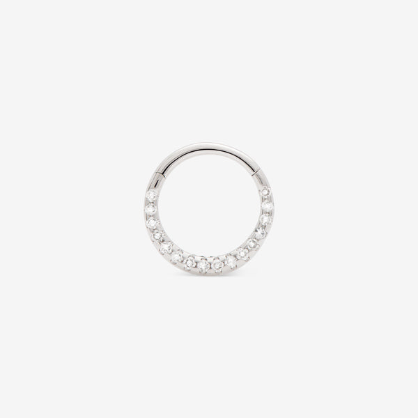 septum huggie with white diamonds set in white gold