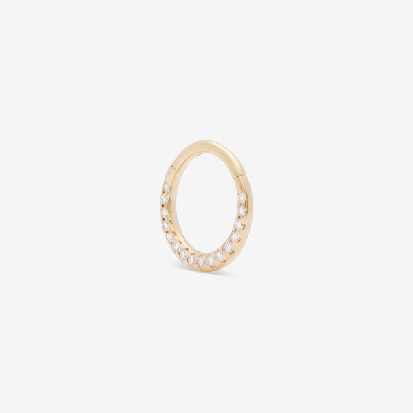 septum huggie with white diamonds set in yellow gold from side