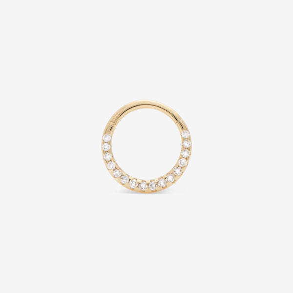 septum huggie with white diamonds set in yellow gold