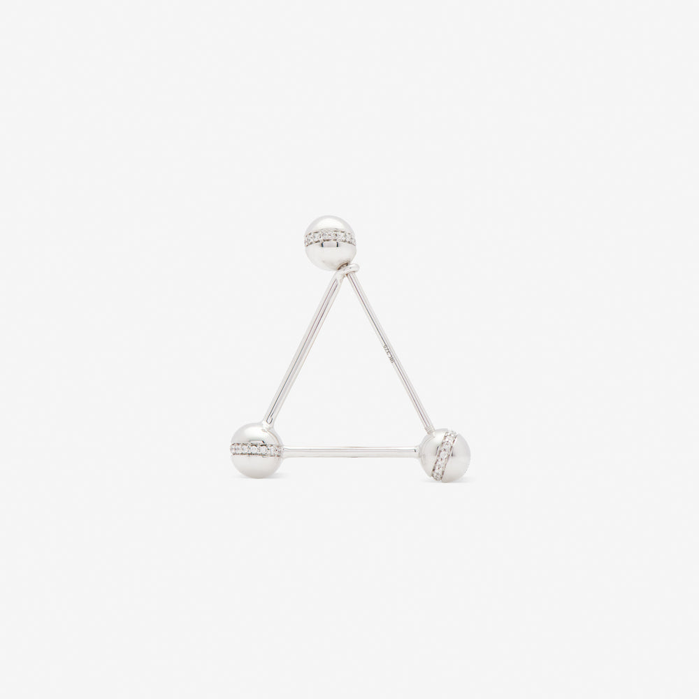 TRIANGLE EAR PIN WHITE W