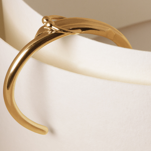 double piercing cuff gold plated