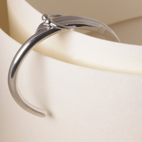 Double piercing cuff bracelet - Rhodium plated silver