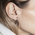 Triangle ear pin earring  - White diamonds - White gold