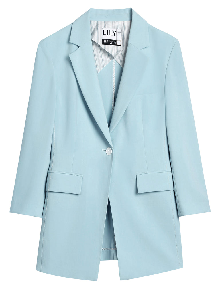 Sky Blue Woven Blazer by Lily White