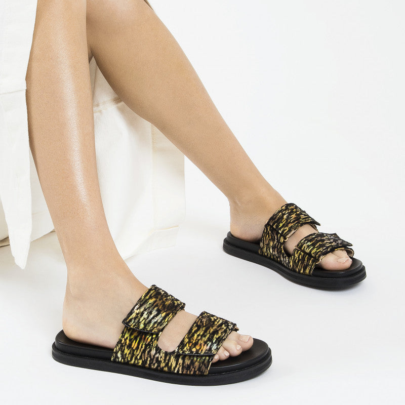 Black and Gold Mules with Velcro
