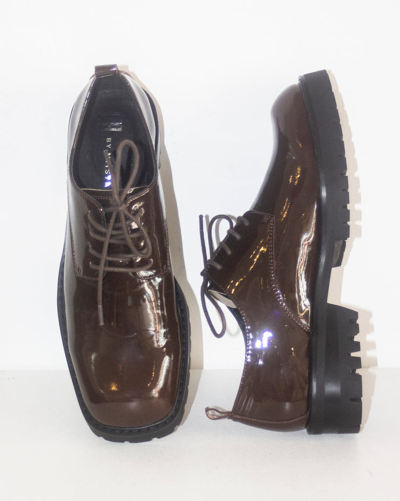Etta Dark Brown Patent Leather Brogues