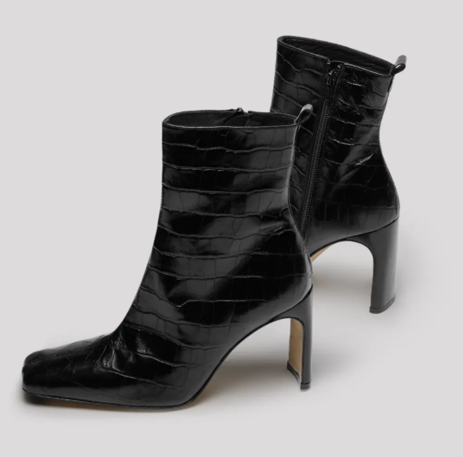 Marcelle Black Croc Leather Boots