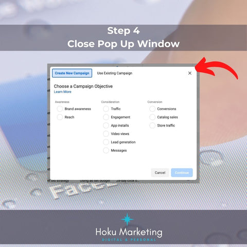 step 4 close popup window