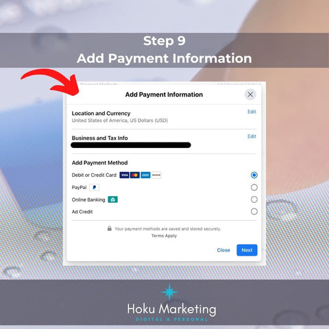 step 9 add payment information