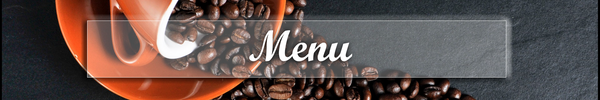 mug spilling coffee beans with caption, Menu