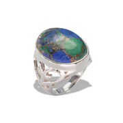 Mojave Azurite Ring in Sterling Silver 16ct