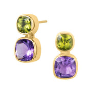 Iris Amethyst & Peridot Gold Stud Earrings