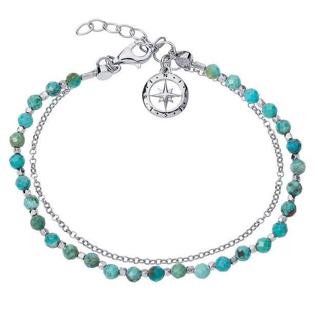 Friendship Bracelet in Silver with Turquoise