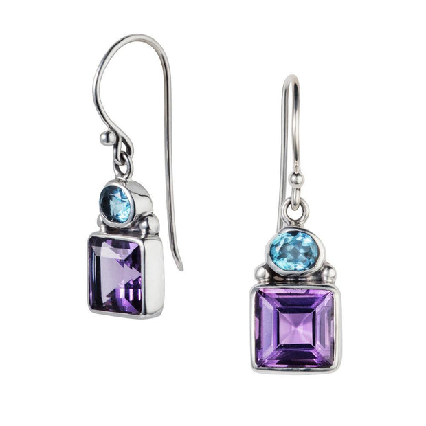 Violet Amethyst & Blue Topaz Silver Drop Earrings