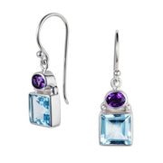 Lilac Blue Topaz & Amethyst Silver Drop Earrings