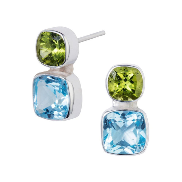 Forget-Me-Not Blue Topaz & Peridot Silver Stud Earrings