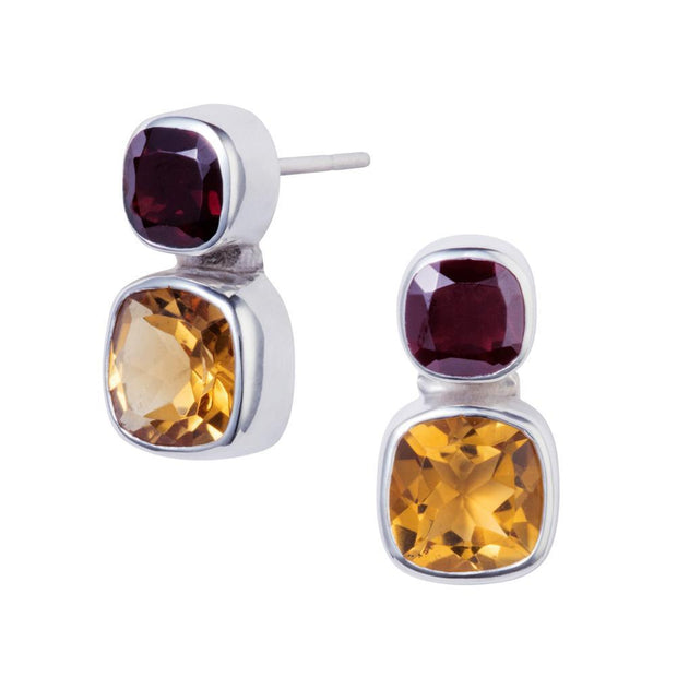 Snapdragon Citrine & Garnet Silver Stud Earrings
