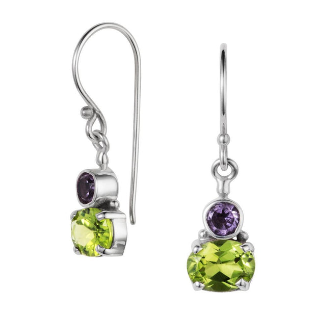 Shamrock Peridot & Amethyst Topaz Silver Drop Earrings
