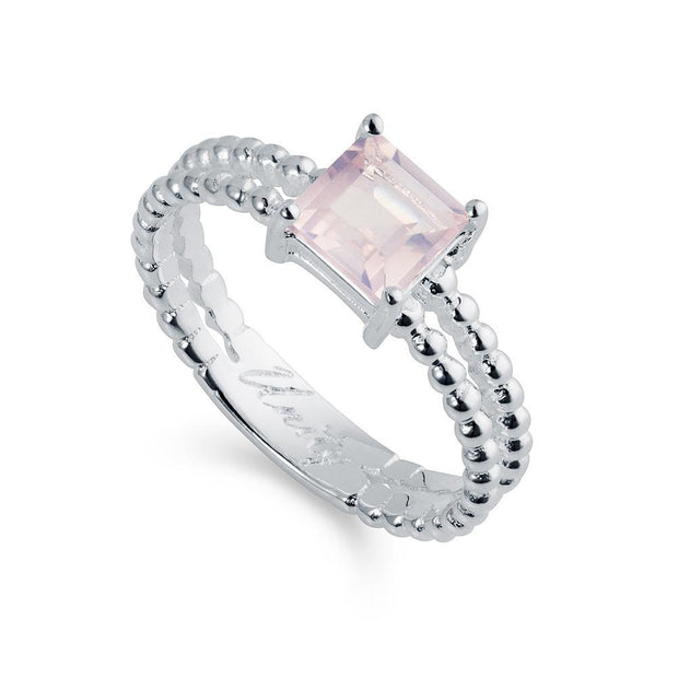 Unity Silver and Rose Quartz Ring