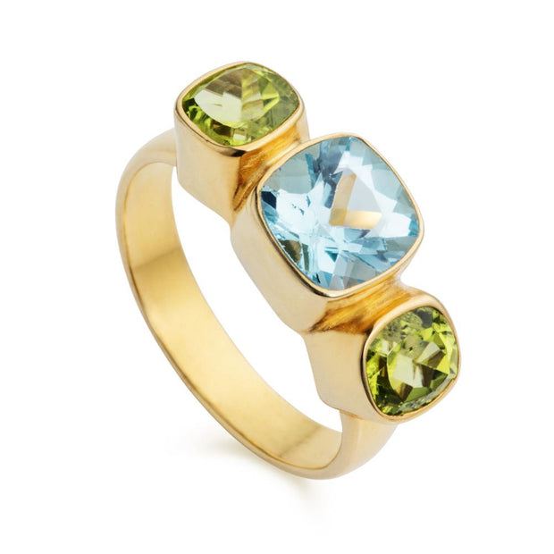 Forget-Me-Not Blue Topaz & Peridot Gold Ring