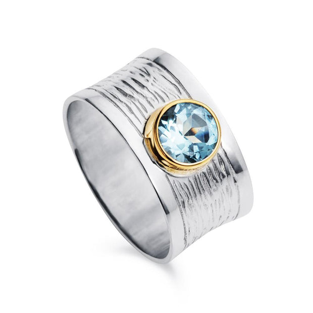St. Tropez Blue Topaz Silver & Gold Ring