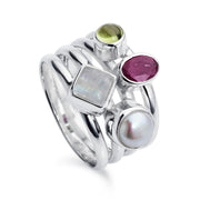 Harmony Ruby Multi-Stone Silver Ring