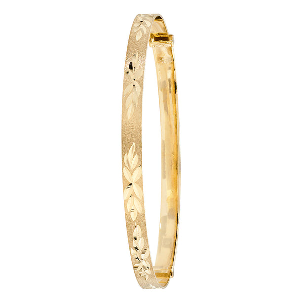 9K Yellow Gold Babies' Dc Exp 3mm Bangle