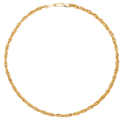 9K Yellow Gold Ladies' 18 Inches Pow Hollow Ncklt