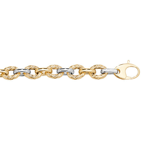 9K Yellow / White Gold Ladies' 7.5 Inches Fancy Bracelet