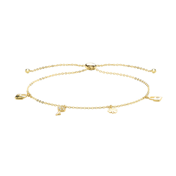 9K Yellow Gold Braclet With Charms