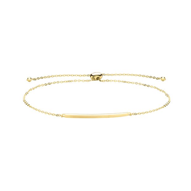 9K Yellow Gold Bar Pull Style Bracelet