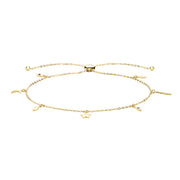 9K Yellow Gold Pull Style Bracelet With Charms