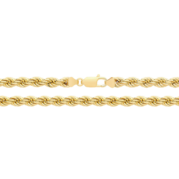 9K Yellow Gold Rope Chain 120 Guage