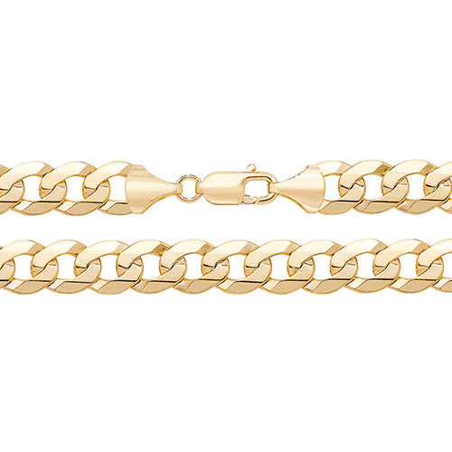 9K Yellow Gold Flt Bvld Curb Chain