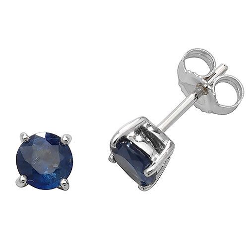 5MM Sapphire Earring in 9K White Gold