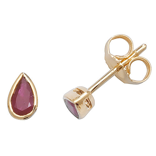 5X3MM Ruby Earring in 9K Gold