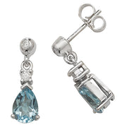 7X5MM Aquamarine & Diamond Earring in 9K White Gold