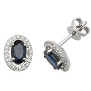 1.24ct Sapphire & 0.18ct  DiamondEarring in 9K White Gold