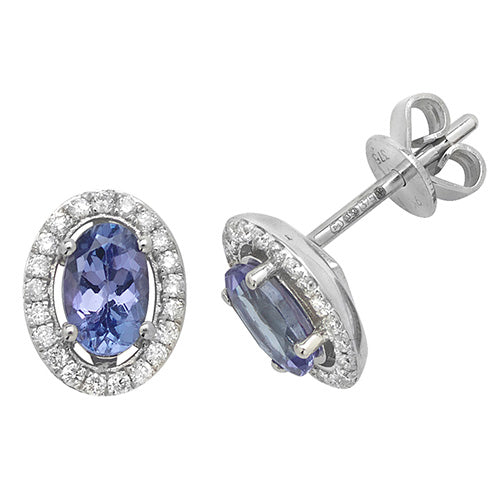 0.95ct Tanzanite Earring in 9K White Gold