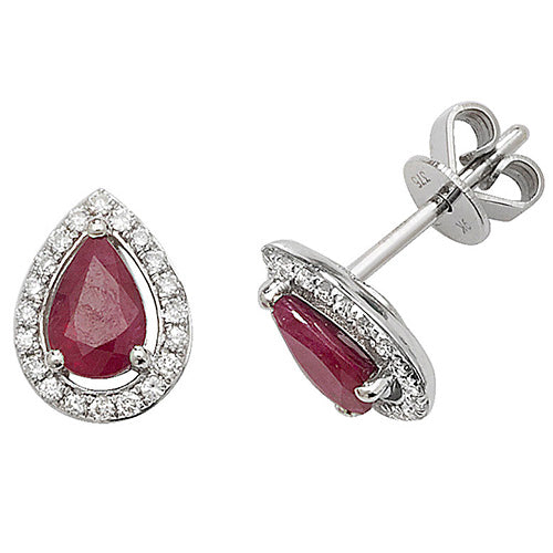 0.96ct Ruby Earring in 9K White Gold