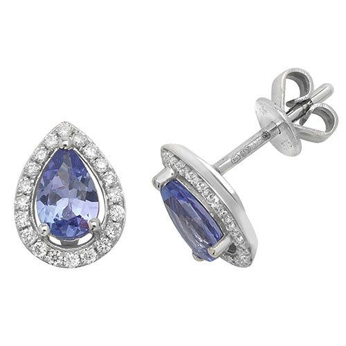 0.72ct Tanzanite Earring in 9K White Gold