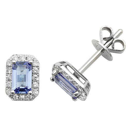 0.63ct Tanzanite Earring in 9K White Gold