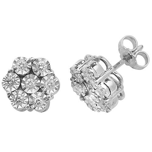 0.40ct Diamond Earring in 9K White Gold