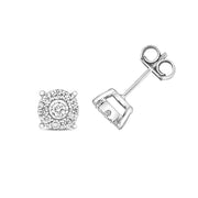 Diamond Earring in 9K White Gold