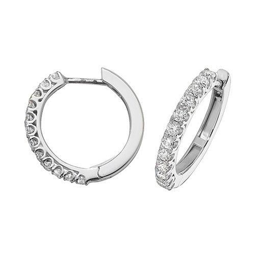 Diamonds G-H VS-SI 0.63ct Hoop Earrings 18mm 18K White Gold