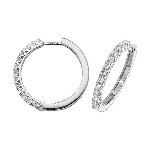Diamonds G-H VS-SI 0.70ct Hoop Earrings 22mm 18K White Gold