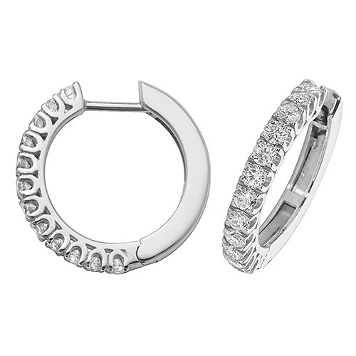 Diamonds G-H VS-SI 0.88ct Hoop Earrings 18mm 18K White Gold